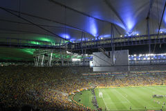 Fans excited at a soccer stadium. Stock Photo