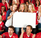 Fans: Excited Women Cheering with Blank Sign Stock Images