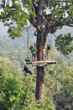 Fans of extreme rest, people are in good physical shape to move around the jungle on ropes Stock Image