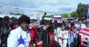 Fans för fotbollsmatchen stock video