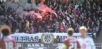 Fans of FC Hradec Kralove. HRADEC KRALOVE 04/04/2015 _ Match between FC Hradec Kralove and AC Sparta Praha Stock Photo