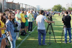 Fans of FC Kuban and journalists at an open training session Royalty Free Stock Images