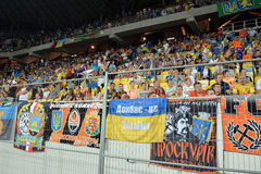 Fans of FC Shakhtar on the stand Royalty Free Stock Photos