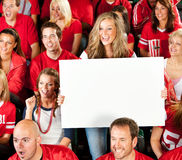 Fans: Female Fan Holds Up Blank Sign Stock Photography