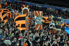 Fans flags on the stand Stock Images
