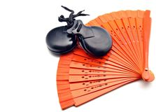 Fans of flamenco and castanets Royalty Free Stock Image