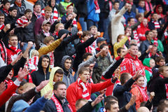 Fans at football match Spartak - Dynamo Stock Photo