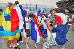Fans of the French team near the stadium Stock Photography