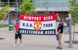 Fans in front of Sports Authority Field. At Mile High. Guinness International Champions Cup of 2014, held in Denver Colorado stock image