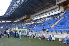 Fans gather for a concert at the Metalist stadium Royalty Free Stock Photos