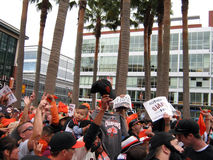 Fans go crazy for Cameras outside ballpark Stock Photography