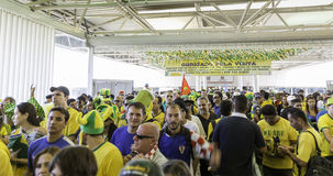 Fans go to Arena Sao Paulo for the first game of the the Brazilian World Cup 2014 (Brazil x Croatia) stock photography