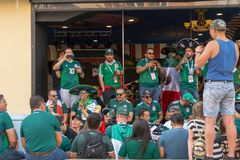 Fans go to the stadium. June 27, 2018. Yekaterinburg. 3 hours to match. Match Mexico - Sweden Royalty Free Stock Photography