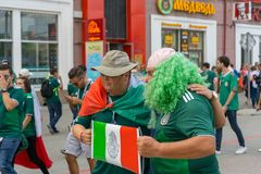 Fans go to the stadium. June 27, 2018. Yekaterinburg. 3 hours to match. Match Mexico - Sweden Stock Image