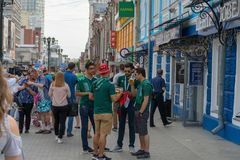 Fans go to the stadium. June 27, 2018. Yekaterinburg. 3 hours to match. Match Mexico - Sweden Royalty Free Stock Image
