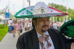 Fans go to the stadium. June 27, 2018. Yekaterinburg. 3 hours to match. Match Mexico - Sweden Stock Photos