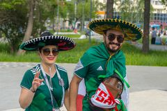 Fans go to the stadium. June 27, 2018. Yekaterinburg. 3 hours to match. Match Mexico - Sweden Stock Photo