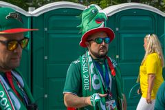 Fans go to the stadium. June 27, 2018. Yekaterinburg. 3 hours to match. Match Mexico - Sweden Royalty Free Stock Photo