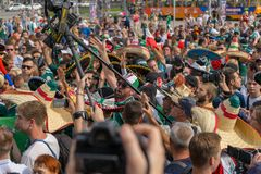 Fans go to the stadium. June 27, 2018. Yekaterinburg. 3 hours to match. Match Mexico - Sweden Stock Images