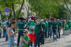 Fans go to the stadium. June 27, 2018. Yekaterinburg. 3 hours to match. Match Mexico - Sweden Royalty Free Stock Photos