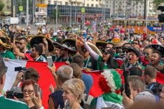 Fans go to the stadium. June 27, 2018. Yekaterinburg. 3 hours to match. Match Mexico - Sweden Stock Photography