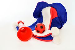 Fans hat football cheer and vuvuzela and soccer ball. On white background stock image
