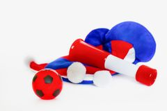 Fans hat football cheer and vuvuzela and soccer ball. On white background royalty free stock photography