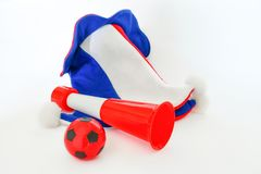 Fans hat football cheer and vuvuzela and soccer ball. On white background stock photo