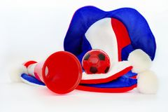 Fans hat football cheer and vuvuzela and soccer ball. On white background stock photography