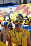 Fans heureux de la Suède s'enracinant pour leur équipe Photo libre de droits