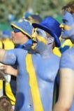 Fans heureux de la Suède s'enracinant pour leur équipe Photo stock