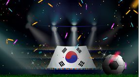 Fans hold the flag of South Korea among silhouette of crowd audience in soccer stadium with confetti to celebrate football game. Concept design for football vector illustration