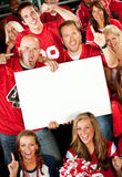 Fans: Holding a Blank Sign at Game Stock Photo