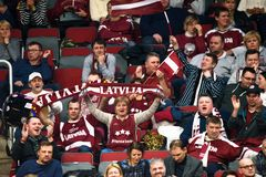 Fans of Latvia, during FEDCUP BNP Paribas World Group II First Round game royalty free stock images