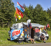 Fans of Le Tour de France. Illiers Combray, France, July 21st 2012: Fans of Le Tour de France waiting near their specific decoarted caravan the appearance of the Stock Photo