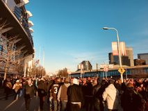Fans leave First Energy Stadium after another Cleveland Browns` Victory. The Cleveland Browns are a professional American football team based in Cleveland, Ohio royalty free stock photo