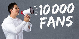 10000 fans likes ten thousand social networking media young man Stock Image