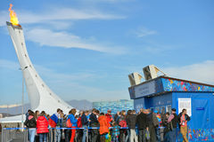 Fans in the line to booking offices in Olympic Park, Sochi Stock Photos