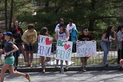 Fans lined up on the course as nearly 27000 runners ran up Heartbreak Hill during the Boston Marathon April 18, 2016 in Boston Stock Image
