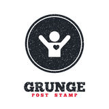 Fans love icon. Man raised hands up sign. Grunge post stamp. Circle banner or label. Fans love icon. Man raised hands up sign. Dirty textured web button. Vector Stock Photography