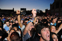 Fans at Love of Lesbian band concert at Matadero de Madrid Royalty Free Stock Images