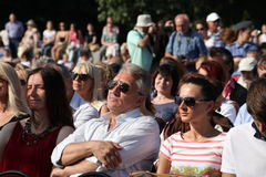 Fans, lovers of russian and italian opera. listeners and viewers, visitors open festival goers of kronstadt opera Stock Images