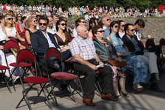 Fans, lovers of russian and italian opera. listeners and viewers, visitors open festival goers of kronstadt opera Royalty Free Stock Photos