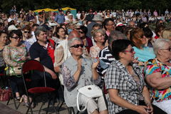 Fans, lovers of russian and italian opera. listeners and viewers, visitors open festival goers of kronstadt opera Stock Photos