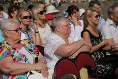 Fans, lovers of russian and italian opera. listeners and viewers, visitors open festival goers of kronstadt opera. A concert of russian and european opera Stock Images