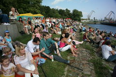 Fans, lovers of russian and italian opera. listeners and viewers, visitors open festival goers of kronstadt opera Stock Image