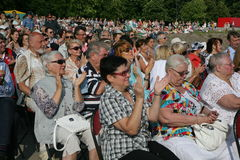 Fans, lovers of russian and italian opera. listeners and viewers, visitors open festival goers of kronstadt opera Stock Photography