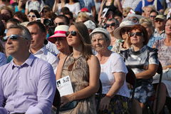 Fans, lovers of russian and italian opera. listeners and viewers, visitors open festival goers of kronstadt opera Stock Photo