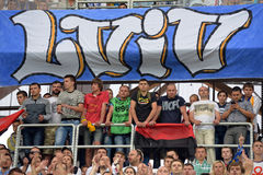 Fans in Lviv. Photo was taken during the match Inter between Shakhtar (Donetsk City) and Dynamo (Kyiv) at Stadium Arena Lviv, Lviv, Ukraine, July 22, 2014 Stock Images