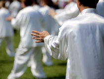 Fans of martial arts Tai Chi with white silk dress during the co Stock Photography